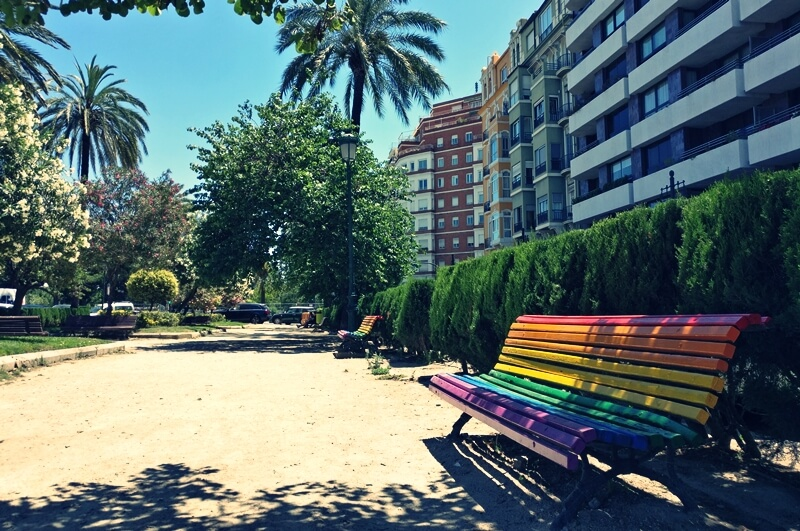 Rainbow bench in Valencia